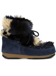 Moon Boot Faux Fur Low Lace Up Boots Blue