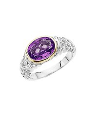 Lord And Taylor Sterling Silver 14 Kt. Yellow Gold Amethyst Ring Amethyst Silver
