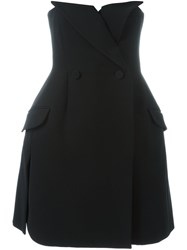 Christian Dior Vintage Strapless Tuxedo Dress Black