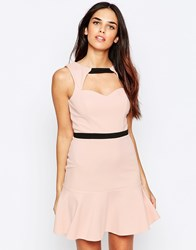 Lashes Of London Pephem Dress With Cut Out Front Pink