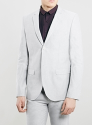 Topman Grey Oxford Skinny Fit Blazer