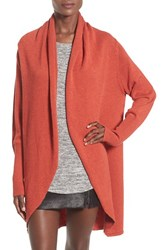 Leith Women's Shawl Collar Cocoon Cardigan Rust Adobe Heather