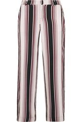Splendid Striped Washed Silk Wide Leg Pants Merlot