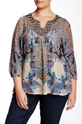 Sienna Rose Drop Waist Kaftan Blouse Plus Size Multi