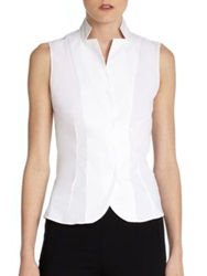 Akris Architecture Collection Stand Collar Blouse White