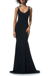 Theia Women's Beaded Illusion Mermaid Gown