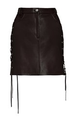 Magda Butrym Leather Lace Up Mini Skirt Red