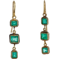 Judy Geib Emerald Triple Drop Earrings