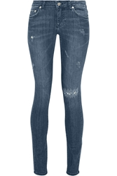 Blk Dnm 26 Distressed Low Rise Skinny Jeans