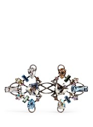 Lanvin 'Ginger' Glass Crystal Metal Fretwork Ring Multi Colour
