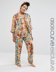 Asos Curve Feather Print Traditional Shirt And Trouser Pyjama Set Multi