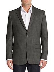 Versace Regular Fit Virgin Wool Blend Sportcoat Dark Grey