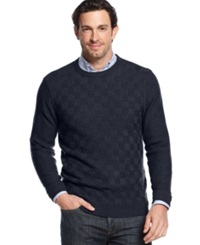Geoffrey Beene Big And Tall Solid Basketweave Sweater Navy