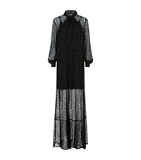 Mcq By Alexander Mcqueen Pussybow Lace Gown Female Black