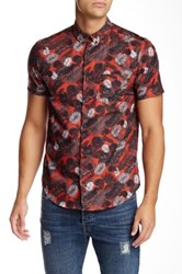 The Kooples Woven Short Sleeve Fitted Shirt Red