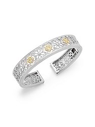 Saks Fifth Avenue White Sapphire In 18Kt Yellow Gold And Sterling Silver Trellis Bracelet