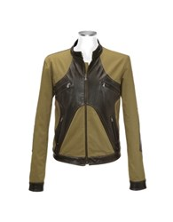 Forzieri Brown And Olive Italian Leather And Cotton Motorcycle Jacket