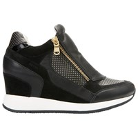 Geox Nydame Wedge Heeled Trainers Black Leather