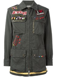 History Repeats Embroidered Military Jacket Green