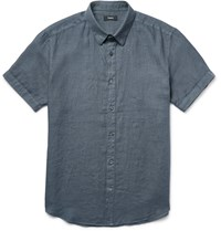 Theory Coppolo Linen Shirt Blue
