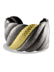 David Yurman Black And Gold Sculpted Cable Cuff Bracelet Silver