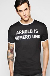 Boohoo Fit Slogan Ringer T Shirt Black