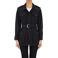 Saint Laurent Women's Belted Military Jacket Black Blue Black Blue