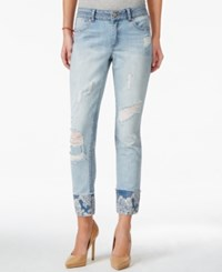 Rewash Juniors' Ripped Printed Cuff Cropped Jeans Blue White Paisley