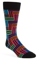 Men's Hot Sox 'Strip Maze' Crew Socks Black