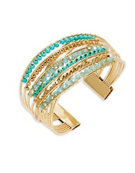 Design Lab Lord And Taylor Woven Beaded Cuff Bracelet Blue