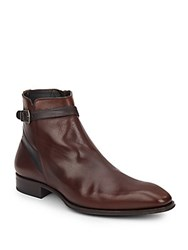 Mezlan Buckle Strap Leather Boots Brown