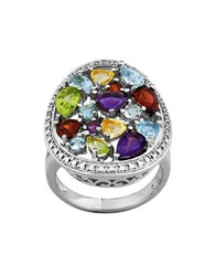 Lord And Taylor Diamond Sky Blue Topaz White Topaz Amethyst Sterling Silver Ring
