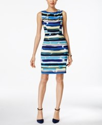 Connected Printed Belted Sheath Dress Blue
