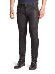 Diesel Black Gold Coated Denim Skinny Biker Jeans Black
