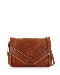 Isabella Fiore Harley Leather Envelope Clutch Bag Chestnut Brown