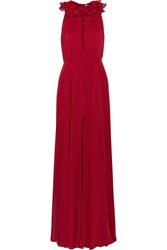 Matthew Williamson Ruffled Silk Chiffon Gown Red