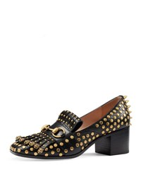 Gucci Polly Studded Leather 55Mm Loafer Nero