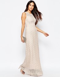 Warehouse Mix Lace Maxi Dress Cream