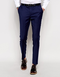 Noose And Monkey Navy Flannel Suit Trousers In Skinny Fit