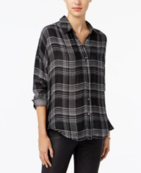 William Rast Aster Plaid High Low Shirt Black White