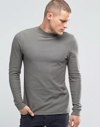 Asos Waffle Longline Muscle Long Sleeve T Shirt With Turtle Neck In Grey Grey