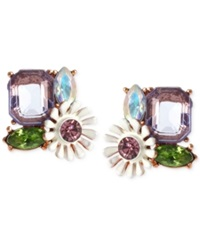 Betsey Johnson Rose Gold Tone Faceted Bead And Flower Button Stud Earrings Multicolor