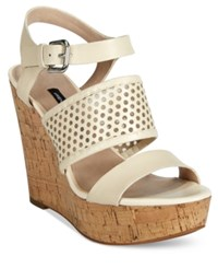 French Connection Devi Platform Wedge Sandals Women's Shoes Barley Sugar