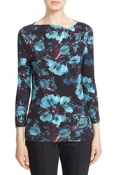 St. John Women's Collection 'Peacock Floral' Jersey Tee Peacock Multi