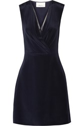 3.1 Phillip Lim Wrap Effect Silk Crepe De Chine Mini Dress Blue