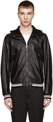 Dolce And Gabbana Black Hooded Leather Jacket