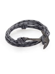 Miansai Rhodium Plated Sterling Silver Anchor Rope Bracelet Concrete