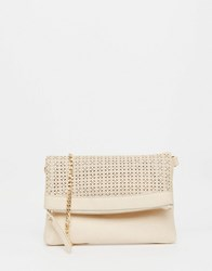Oasis Lazer Cut Fold Over Clutch Bag Off White