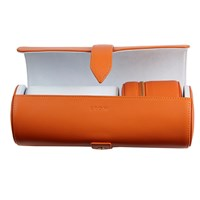 Stow Leather Travel Watch Roll And Stud Box Set Orange Yellow Orange