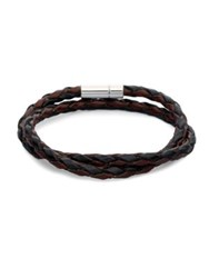 Tateossian Braided Leather Bracelet Brown Black